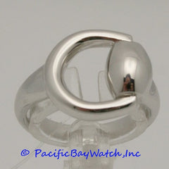 Ladies Ring By Gucci Horsebit White Gold 6 3/4 sz.