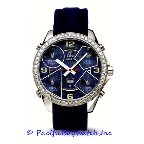 Jacob & Co. JC-5 Men's 5 Time Zone 3.25ct Bezel