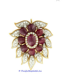 Van Cleef and Arpels 18K Yellow Gold 9 Stone Cab Ruby with Diamonds Brooch