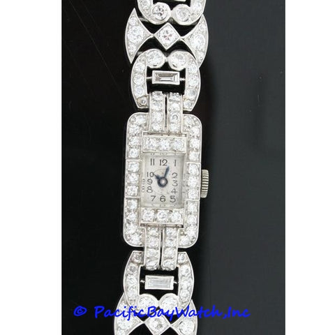 Vintage French Deco Platinum Ladies Watch