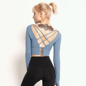 Tempted Clothing Kari long sleeve cross back Crop Top