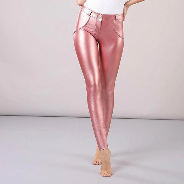 Tempted Clothing push up XS / Pink Shiny Leather Push Up Pants-PRE ORDER ITEM