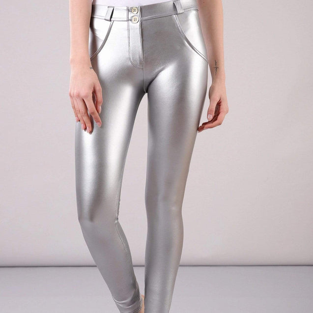 Tempted Clothing push up XS / Silver Shiny Leather Push Up Pants-PRE ORDER ITEM