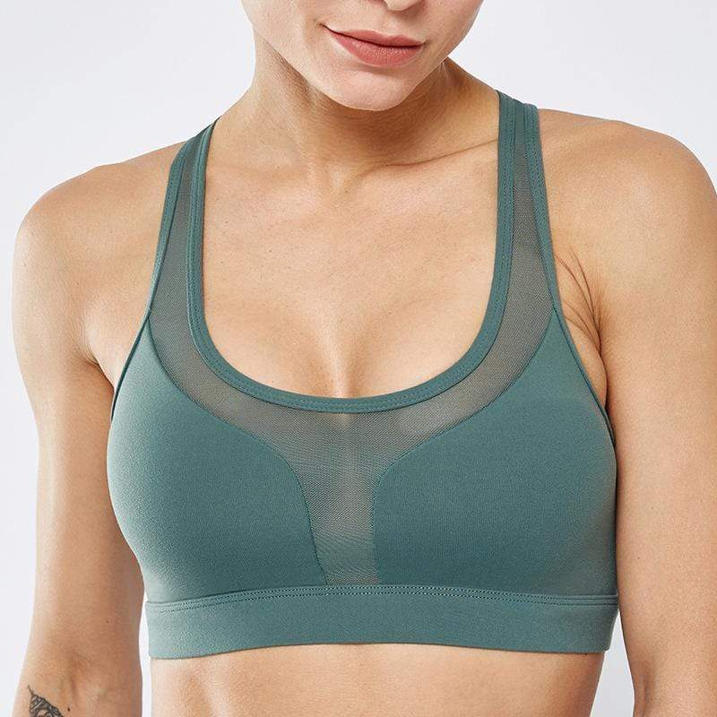 Tempted Clothing Sport Bra Small / Green High impact Sports Bra with Phone pocket