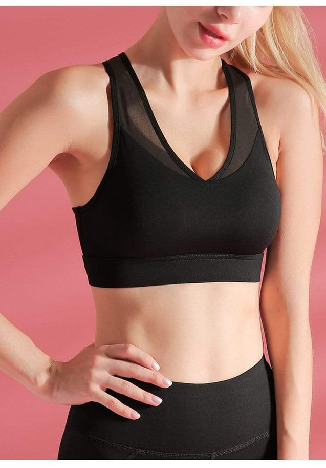 Tempted Clothing Sport Bra & Tank Tops Herleif Low Front Back Mesh Sports Bra