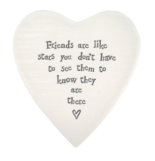 East Of India Friends Are Like Stars Porcelain Heart Coaster - Daisy Park