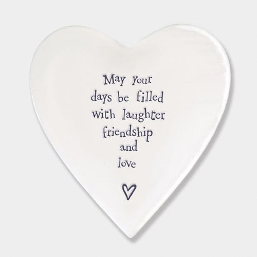 May your days be filled with laughter... - Porcelain Heart Coaster - Daisy Park