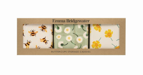 Emma Bridgewater Buttercup set of three square tins - Daisy Park