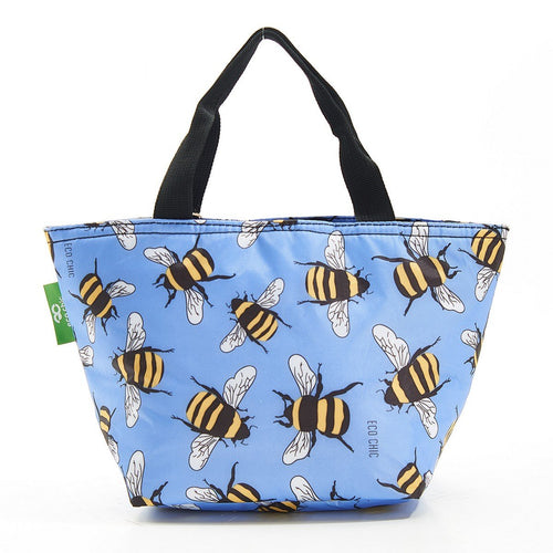 Eco Chic Blue Bee lightweight foldable lunch bag - Daisy Park