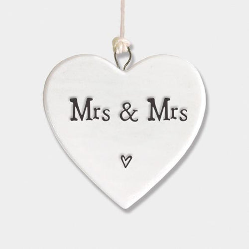 Mrs & Mrs porcelain heart