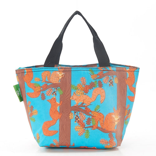 Eco Chic Blue Squirrel foldable lunch bag - Daisy Park