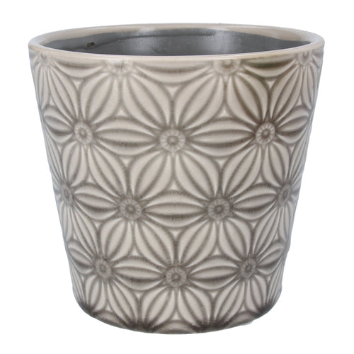 Light grey asters ceramic pot cover - Daisy Park