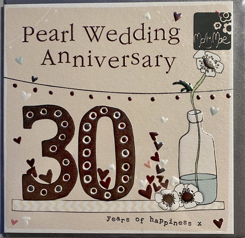30th Wedding Anniversary card - Pearl - Daisy Park