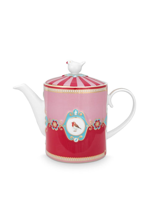 Pip Studio Love Birds medallion red tea pot