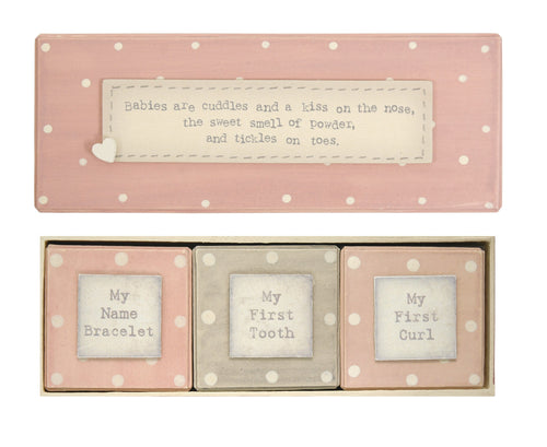 East of India Baby Boy Blue First Tooth Curl Gift Box