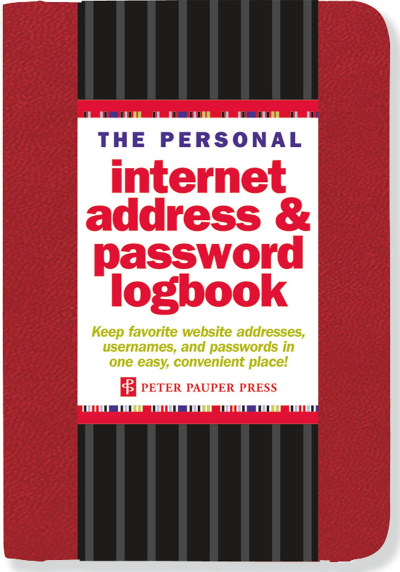 Internet address & password log book red