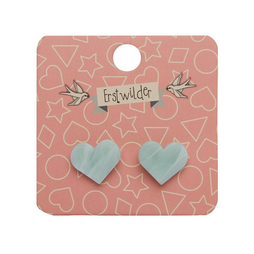 Erstwilder Heart Marble Resin Stud Earrings - Mint - Daisy Park