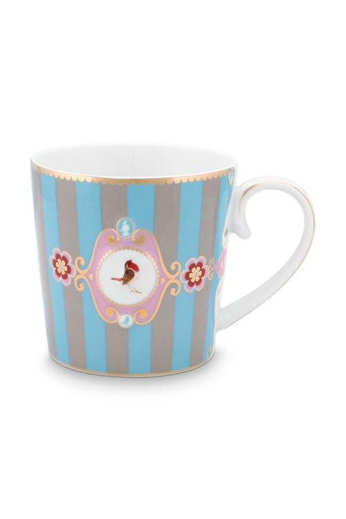Pip Studio Love Birds Blue khaki stripe mug