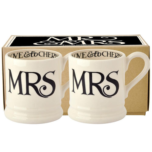 Emma Bridgewater Black Toast Mrs & Mrs 2 1/2 pint mugs - Daisy Park