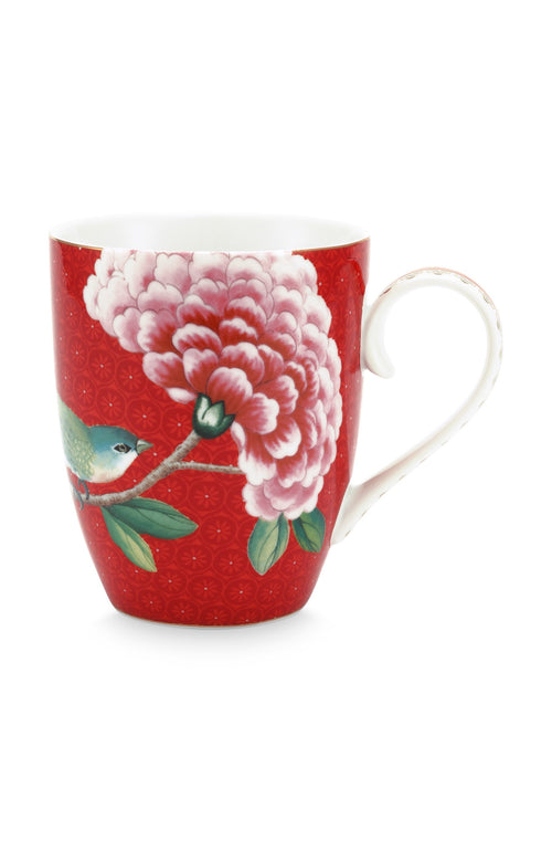 Pip Studio Blushing Birds large red mug - Daisy Park