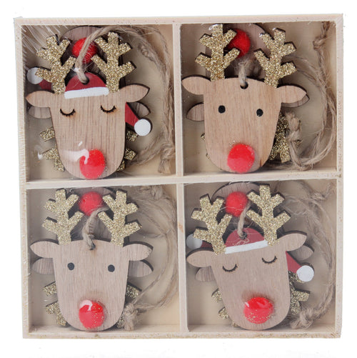 Wood Reindeer Head Decorations 8 in box - Daisy Park