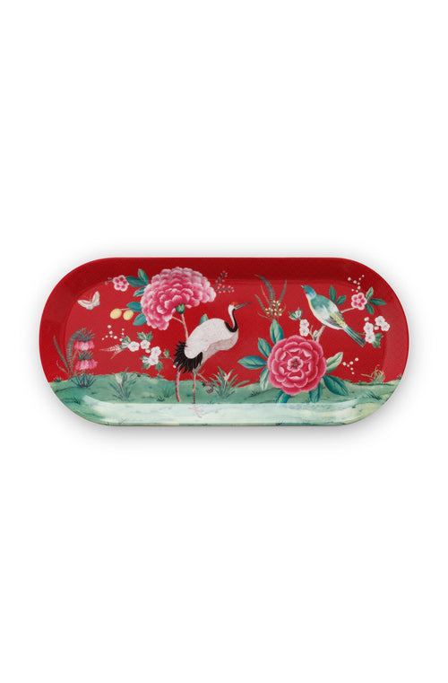 Pip Studio Blushing Birds red rectangular cake tray - Daisy Park