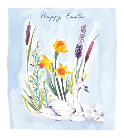 Happy Easter Card - Swans & Flowers - Daisy Park