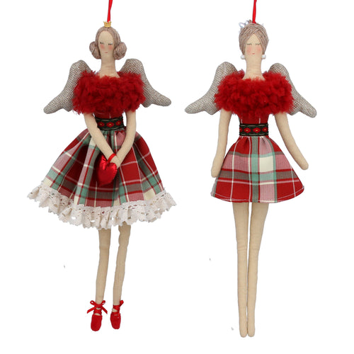 Tartan red fabric angel decoration large