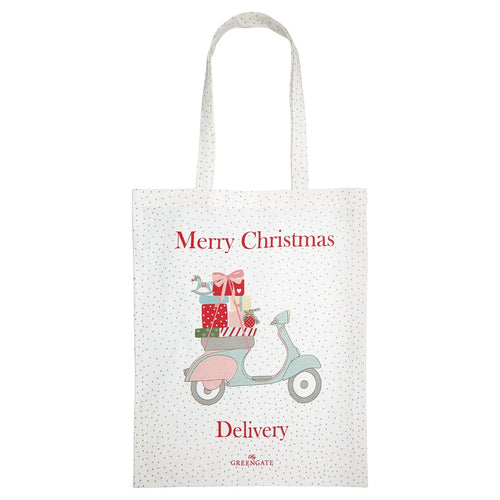 Greengate Scooter white cotton bag - Daisy Park