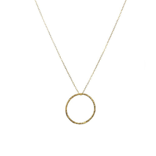 Gold Hammered Hoop necklace - Daisy Park