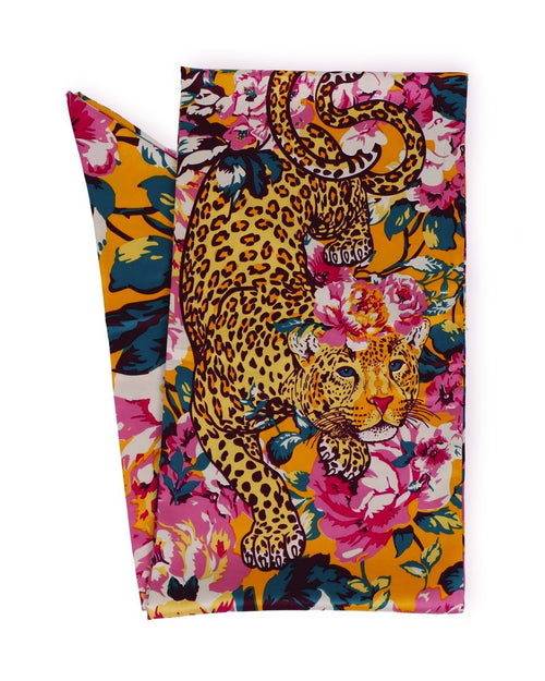 Powder Leopard print and Floral satin neck scarf. - Daisy Park