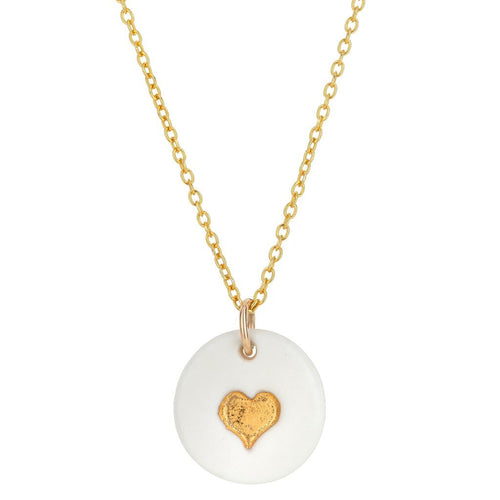 Porcelain Gold Heart Necklace - Daisy Park