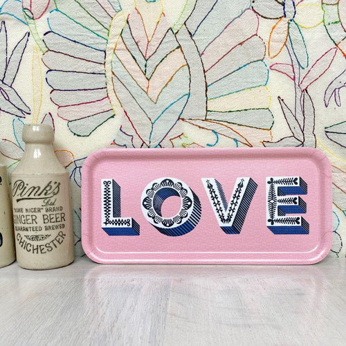 Asta Barrington pink LOVE long tray - Daisy Park