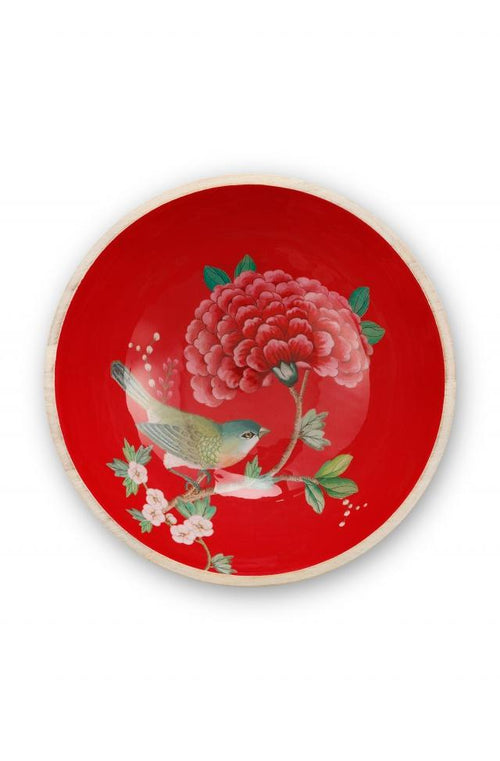 Pip Studio Blushing birds red 28cm wood enamelled bowl - Daisy Park