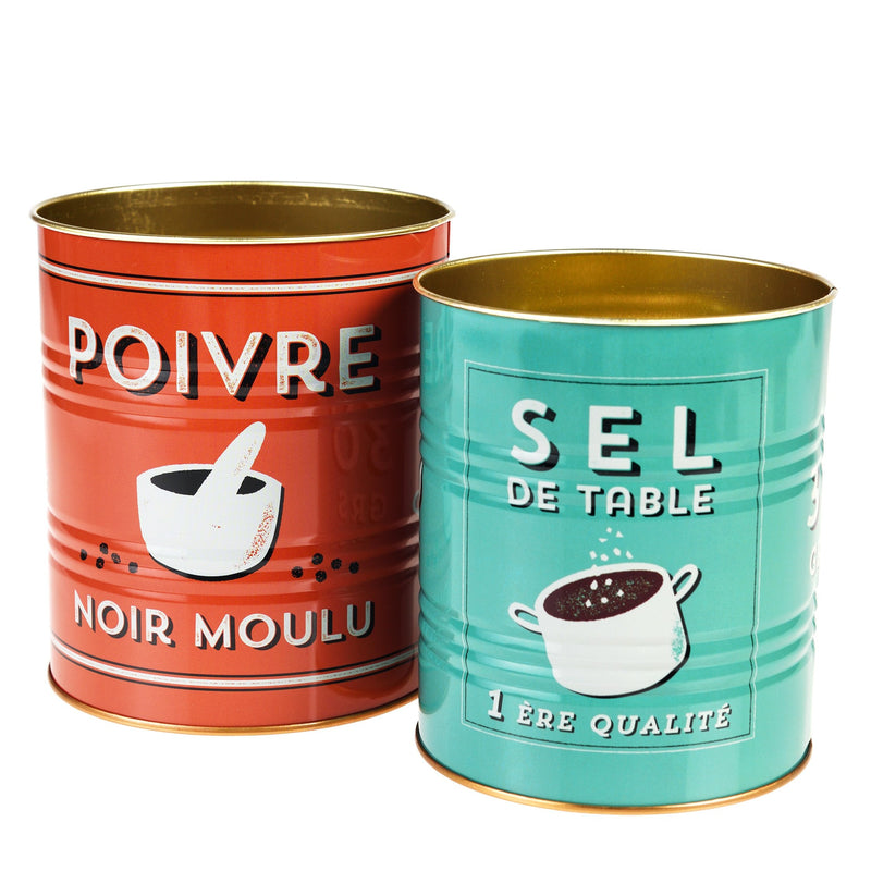 Salt and Pepper set of two tins