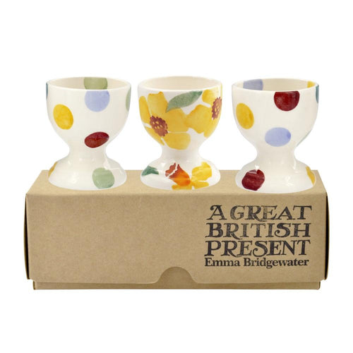 Emma Bridgewater Daffodils & Polka dot set of 3 egg cups - Daisy Park