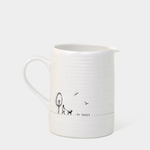 East of India Porcelain Jug - Be Happy - Daisy Park