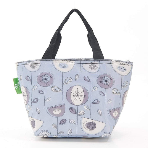 Eco Chic Grey 1950's Flower Foldable Lunch Bag - Daisy Park