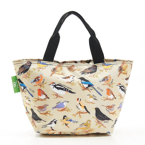 Eco Chic green Wild Birds lightweight foldable lunch bag - Daisy Park