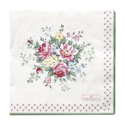 Greengate Aurelia white large napkins
