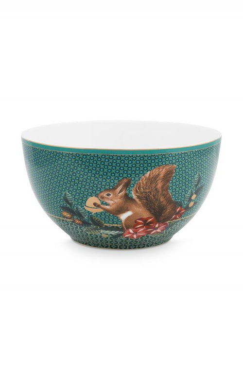 Pip Studio Winter Wonderland squirrel green 15cm bowl - Daisy Park