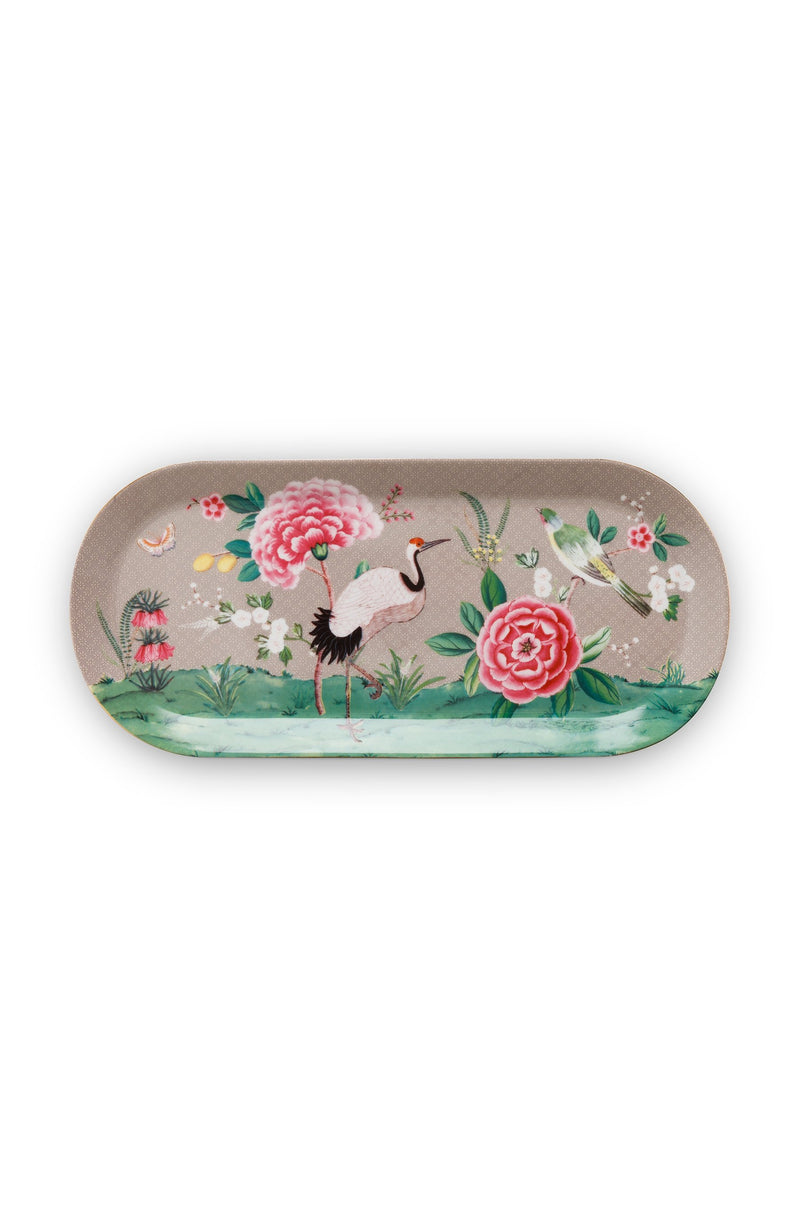Pip Studio Blushing Birds Khaki rectangular cake tray - Daisy Park