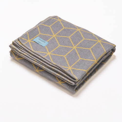 Grey and yellow geometric recycled cotton blanket - Daisy Park