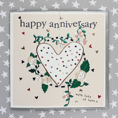 Happy Anniversary Heart and flowers card - Daisy Park