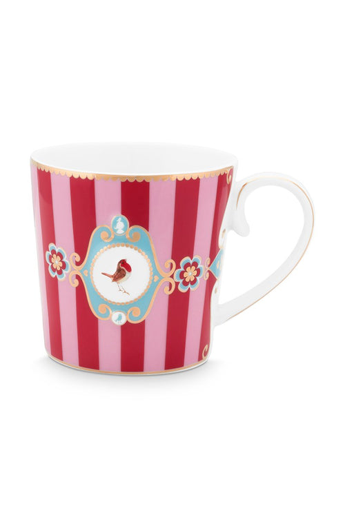 Pip Studio Love Birds Red pink stripe Senseo mug - small
