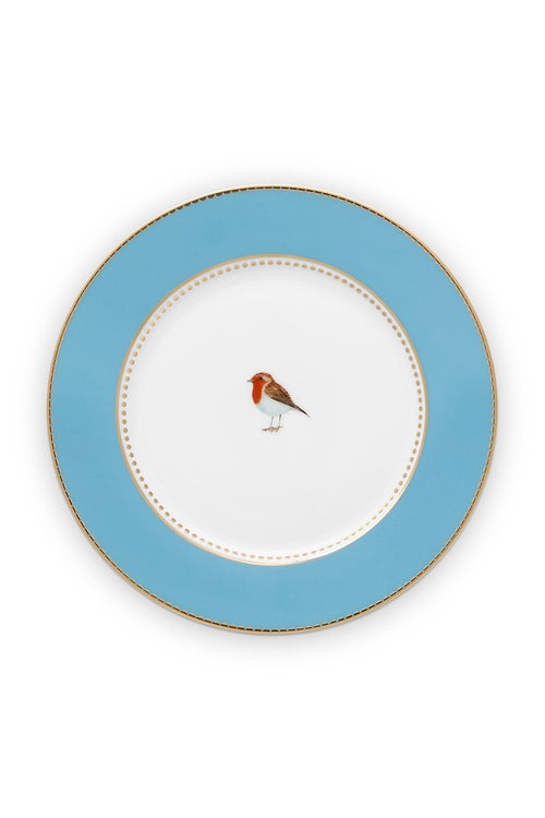 Pip Studio 17cm blue plain Love Birds cake plate
