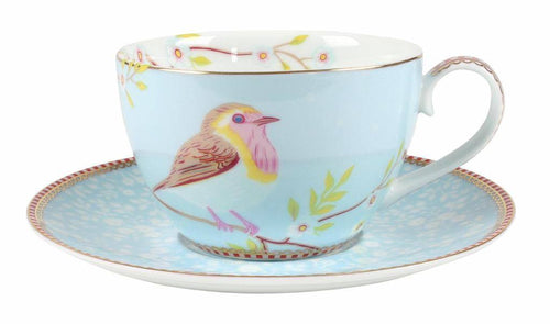 Pip Studio blue bird teacup and saucer - Daisy Park