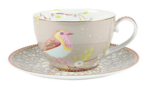 Pip Studio khaki bird teacup and saucer - Daisy Park