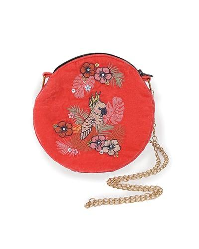 Velvet embroidered Cockatoo bag - Daisy Park