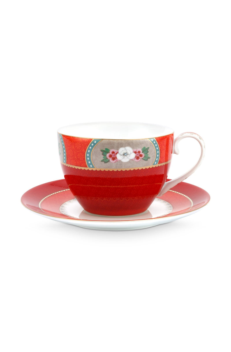 Pip Studio Blushing Birds Red Cappuccino cup and saucer - Daisy Park